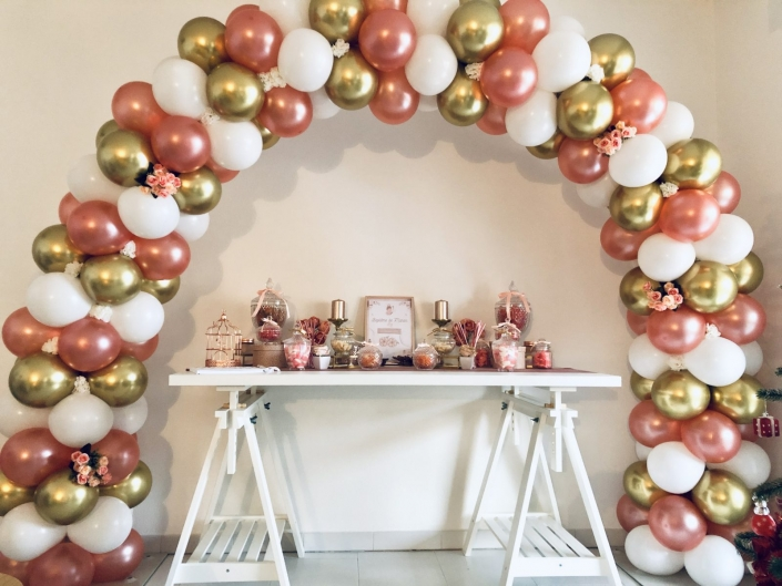 arche ballons rose gold